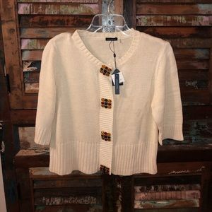 NWT Magaschoni Cropped Cream Cardigan Sweater